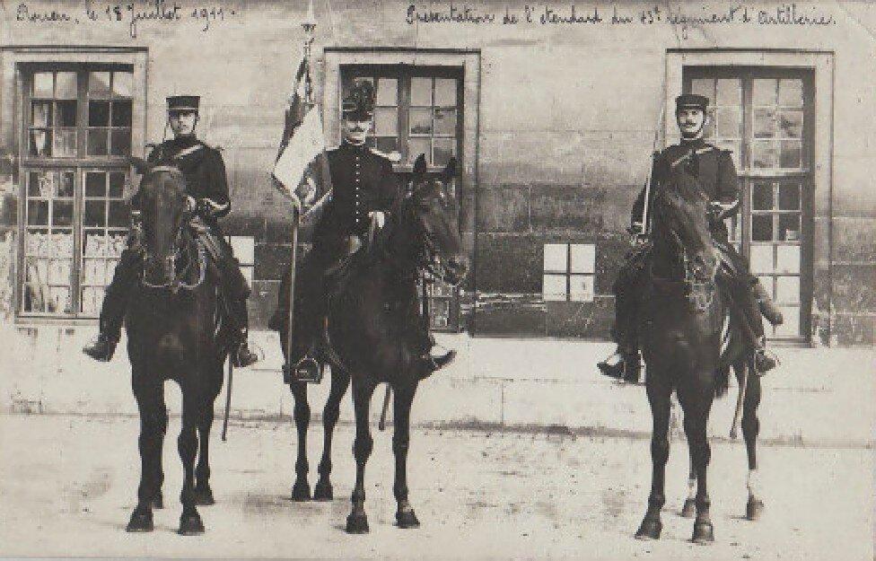 Rouen - L'étendard du 43e Régiment d'artillerie (carte-photo coll. Verney-gandeguerre)