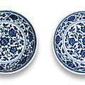 A rare pair of <b>Ming</b>-<b>style</b> <b>blue</b> <b>and</b> <b>white</b> saucer-dishes, Yongzheng six character marks <b>and</b> of the period