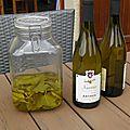 Apéritif : abymes (vin savoyard) aux feuilles de cassis