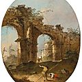 Francesco Guardi (Venice 1712 - 1793), An architectural <b>capriccio</b> with figures by a ruined arch