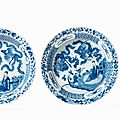 A pair of deep blue and white plates, Kangxi period (1662-1722)