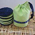 P1160413 mini pochon et disques démaquillants bleu marine et vert anis