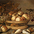<b>Balthasar</b> <b>van</b> <b>der</b> <b>Ast</b>, A basket with cherries, apples, peaches and a bunch of grapes, surrounded by apples, peaches, shells, bee