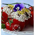 Mini-tomates farçies rillettes de thon au kiri, citron, basilic, tomates séchées et perles de citron au poivre........
