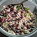 Salade de haricot rouge, oignon rouge, thon, poivron vert, cornichon et fromage râpé.