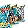 Housses de coussin carrées 40 x 40 cm - wax - tissu coloré imprimé géométroqie pour une décoration africaine