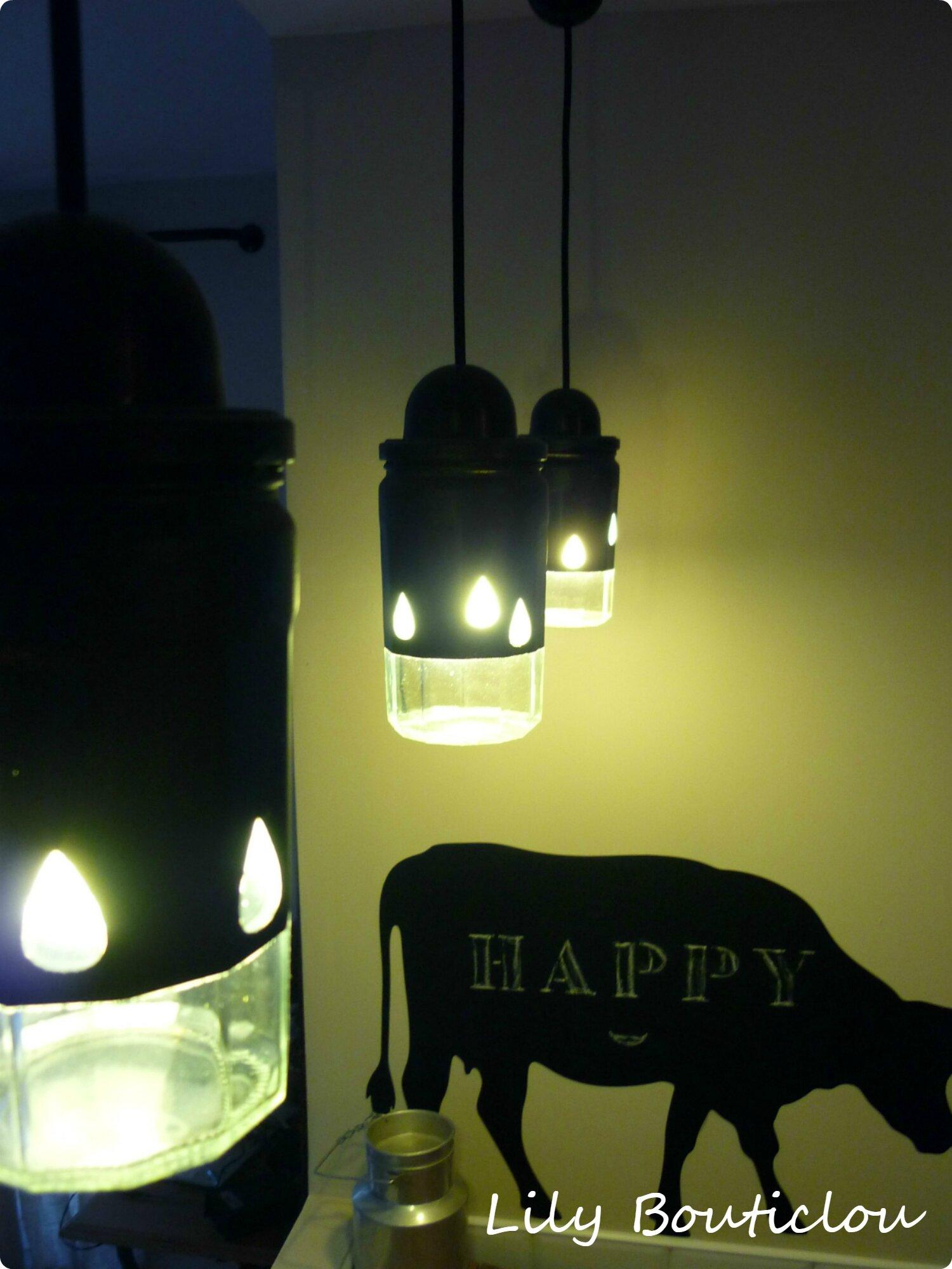 DIY tuto suspension luminaire pot confiture recup