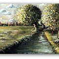peinture tableau paysage campagne canal rivière matin arbre eau albertosi peintre mini