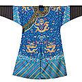 An embroidered blue-ground 'dragon' robe,mangpao, <b>19th</b> <b>century</b>