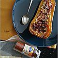 Butternut farcie au brebis basque, lardons & piment d'espelette