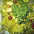 Chou mijoté et tofu au curcuma, pistaches et noisettes - sans gluten