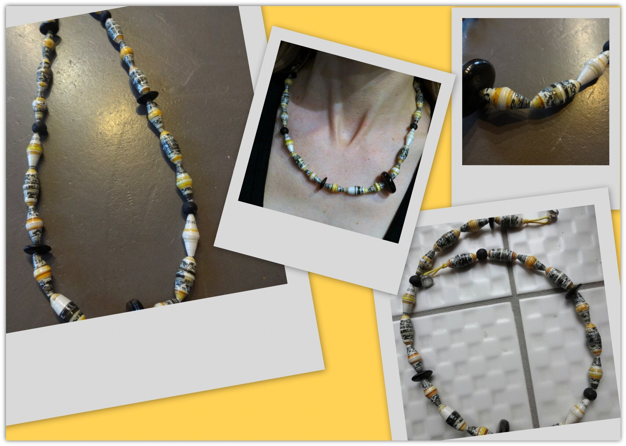 Collier perles en papier jaune et gris