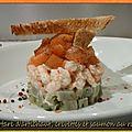 Tartare d'artichaut, crevettes et saumon au <b>raifort</b>