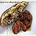 Gigot d'agneau et son aubergine farcie de risotto