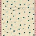 Tissu coton ecru petites étoiles bleues paon