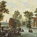 Pieter gysels (1621-1690), cavaliers et pêcheurs près de l'embarcadère