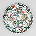 Chinese imperial porcelain large wucai saucer dish, Kangxi six-character mark within a double ring in underglaze blue and of the period