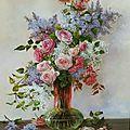 Le vase aux roses et lilas