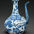 A blue and white 'Pomegranate' ewer, Wanli period (1573-1619) 2
