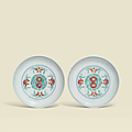 A pair of finely enamelleddoucaifloral dishes, Yongzheng six-character marks in underglaze blue within double circles and of the period (1723-1735)