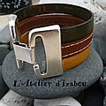 Multirangs, multicouleurs, large de 3 cm, voici un bracelet en cuir dans les tons, kaki, marron et ocre jaune <b>couleurs</b> <b>d</b>'<b>automne</b>