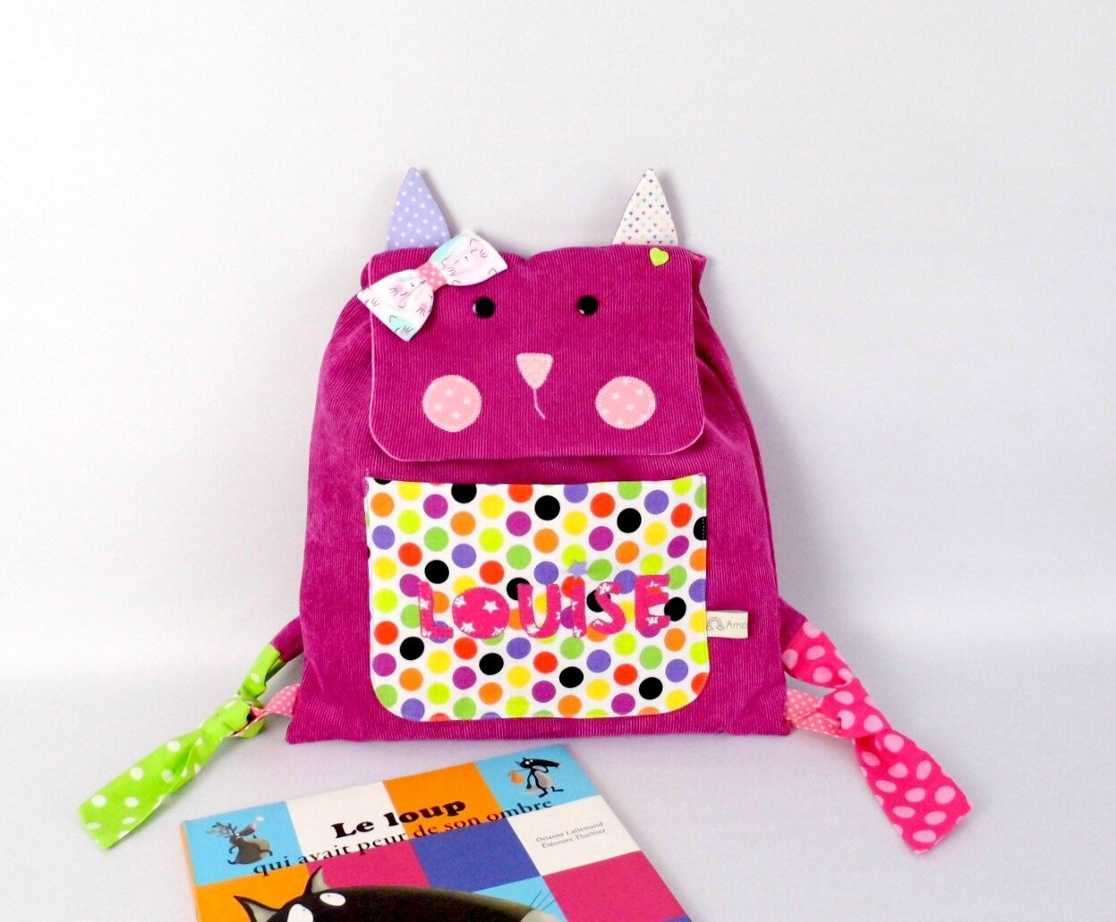 Sac à dos chat personnalisable prénom Louise rose fuchsia pois coeur pink backpack personnalized