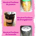 <b>Macérats</b> fleuris de lavande, jasmin et fleurs de frangipanier