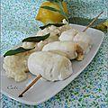 Risotto sauge-citron & brochettes de roules de sole a la sauge - risotto salvia-limon & brochetas de rollos de lenguado .....