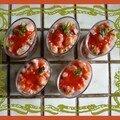Verrines de thon et saumon aux fraises
