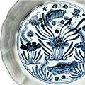An exquisite blue and white 'fish pond' brush washer, mark and period of xuande (1426-1435)