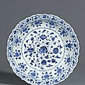 A fine blue and white <b>barbed</b> 'Flower Scroll' <b>dish</b>