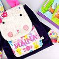 Sac à dos lapin personnalisé prénom Maïna école maternelle rabbit backpack personalized name purple pink