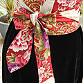<b>Ceinture</b> tissu <b>obi</b>, tissu japonais, réversible -