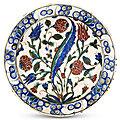 An Iznik Pottery Dish, Circa 1680, <b>Ottoman</b> Turkey & An Iznik Glazed Fritware Dish, 17th Century