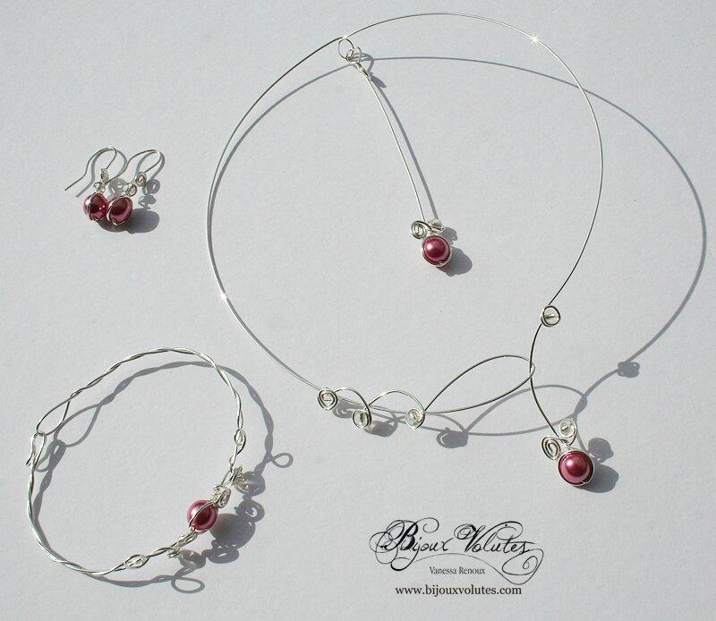 Cr ation de bijoux mariage pas cher argent et perles rose p le bijoux volutes mariage - Materiel creation bijoux pas cher ...