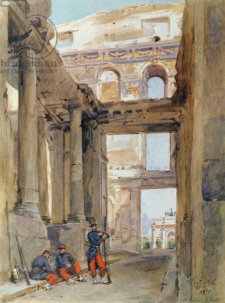Pils, soldats dans les ruines des Tuileries