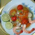 Poisson et crevettes à la nage à la citronelle et aux légumes de saison, recette de gipsy pour un diner presque parfait