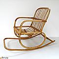 Vintage ... fauteuil à bascule en rotin * eliot