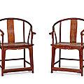 A pair of huanghuali <b>horseshoe</b>-<b>back</b> <b>armchairs</b>, quanyi, 20th century