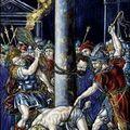 """Plaque rectangulaire en <b>émail</b> <b>peint</b> <b>polychrome</b> avec rehauts d'or représentant la """"Flagellation"""". Monogrammée L.L. Limoges"""