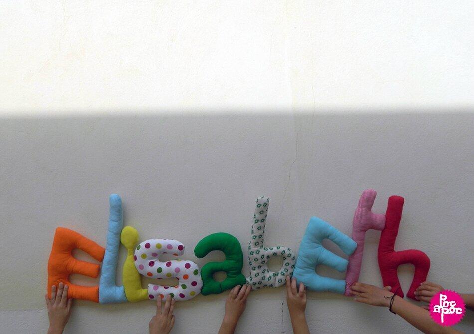 elisabeth,mot en tissu,mot decoratif,cadeau de naissance,decoration chambre d'enfant,cadeau personnalise,cadeau original,poc a poc blog