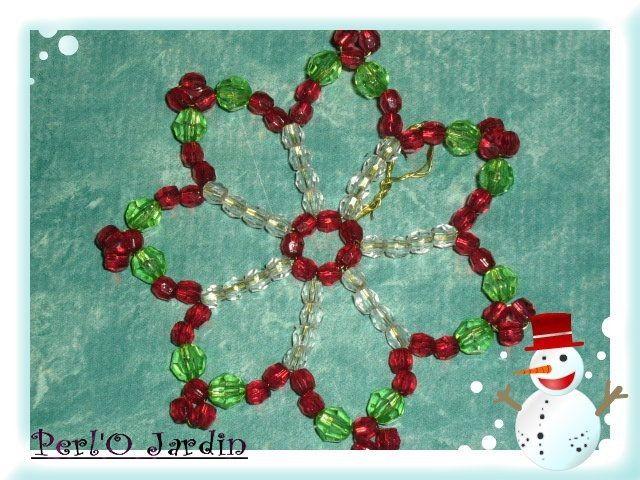 Etoile facettes plastiques rouge verte