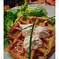 Gaufres de panais pommes de terre, persil, huile d'argan, chantilly mascarpone crème de fromage
