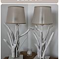Lampe <b>bois</b> flotté blanche - mod1.