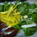 Lamelles fluo anisées et salade de fanes de radis