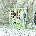 Wooden cabinet, painted with acrylics with baroque with ornamental motives of flowers side landscapes and decorated with stucco