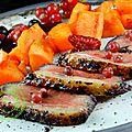 Rôti de magret aux patates douces et aux fruits