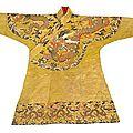 A fine imperial yellow silk brocade chuba. <b>Late</b> <b>Ming</b>/<b>early</b> <b>Qing</b> <b>dynasty</b>
