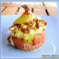 Oignons farcis au fromage de chevre (alain gardaillou )