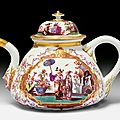 Fine tea pot with <b>chinoiserie</b> <b>decoration</b>, Meissen, ca. 1725-1730